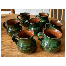 Group of 7 Small Mexican Handmade Cups - Green Glazed Terracotta