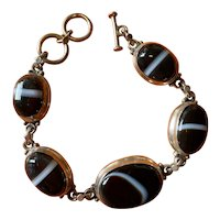 Cabochon Banded Agate and Sterling Silver Bracelet