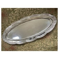 """Antique Tiffany & Co Long Silver Soldered 20"""" Tray with Scalloped Edge"""