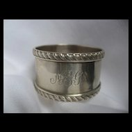 """English Silver Napkin Ring with """"Rope"""" edge dated 1899"""