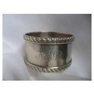 "English Silver Napkin Ring with ""Rope"" edge dated 1899"