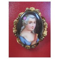 Victorian Brooch - Hand Painted Porcelain Lady & Fan - Love Token