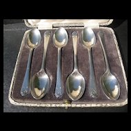 Six Golf Themed Boxed Sterling Demi-Tasse Spoons - 1933