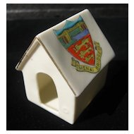 Shelley Porcelain Dog House or Kennel - Crested Ware souvenir of Menai Bridge, Wales