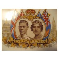Royal Commemorative plate George Vl & Queen Elizabeth - 1939