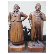 "Exceptionally Fine ""Man and Woman"" Black Forest Wood Carving by J. Baud"