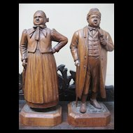 """Exceptionally Fine """"Man and Woman"""" Black Forest Wood Carving by J. Baud"""