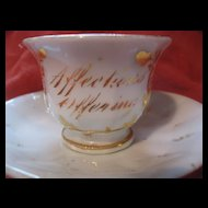 """Early Miniature/ Child's Cup and Saucer  """"Affection""""s Offering"""""""