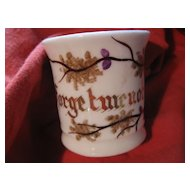"Early Small Ceramic Cup - Love Token - ""Forget Me Not"""