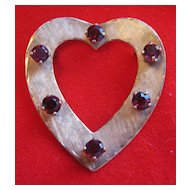 Vintage 14k Gold Heart Brooch / Pin with Garnets