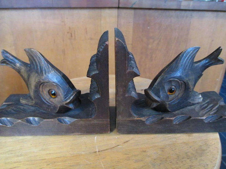 Unusual Black Forest Carved Wooden Fish Bookends Patricia Funt Antiques Ruby Lane