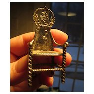 """Miniature Silver Chair with Fisherman - 2 3/8"""" High"""