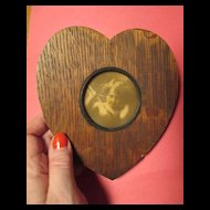 Wooden Heart Frame with Cupid