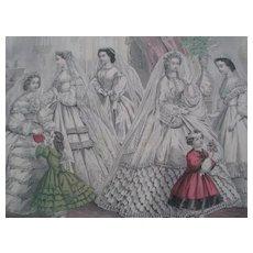 Godey's Fashions for a Christmas Wedding December 1862 - Civil War Era Print