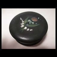 Papier Mache Snuff Box with Painted Floral Top