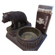 Black Forest Bear Match holder and Ashtray / Tray Wood Carving