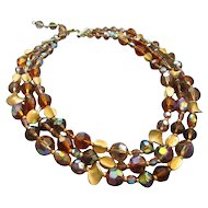 Hattie Carnegie Triple Strand Sparkling Beaded Necklace