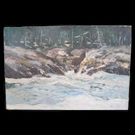 Maine Seascape Painting - Oil on Canvas - Signed John E. Harris
