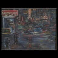 Chinatown N.Y.C. Cityscape - Signed R. Atkinson - Oil on Canvas