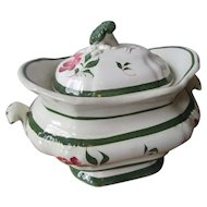 Small Staffordshire Antique Tureen - Hand Painted - Sweet!