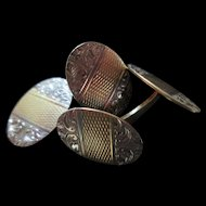 Great Looking 2 Color / 2 Sided 14K Gold Oval Cufflinks