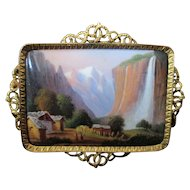Beautiful Swiss Enamel & 14k Gold Brooch of Staubbach Falls c.1870
