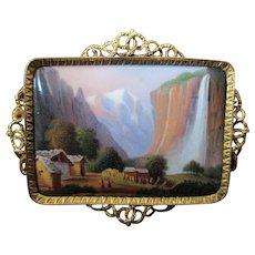 Beautiful Swiss Enamel & 14k Gold Brooch of Staubbach Falls c.1870