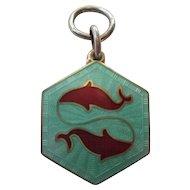 David Andersen Pisces Enamel Silver Charm - Zodiac Series