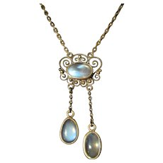 Moonstone and Silver Edwardian Necklace c.1900