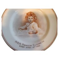 Princess Elizabeth as a Baby (Now Queen Elizabeth) Paragon China Plate 1927