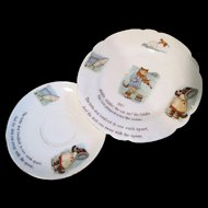 """Child's Plate & Saucer - """"Hey Diddle Diddle! The Cat & The Fiddle"""" - Nursery Rhyme Porcelain"""