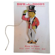 "Tin Articulated Man Lapel Pin on Original Card - ""How-de-Doody"""