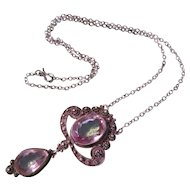 Antique Sterling and Amethyst Necklace with Drop Tear Drop Shaped - Perfect!
