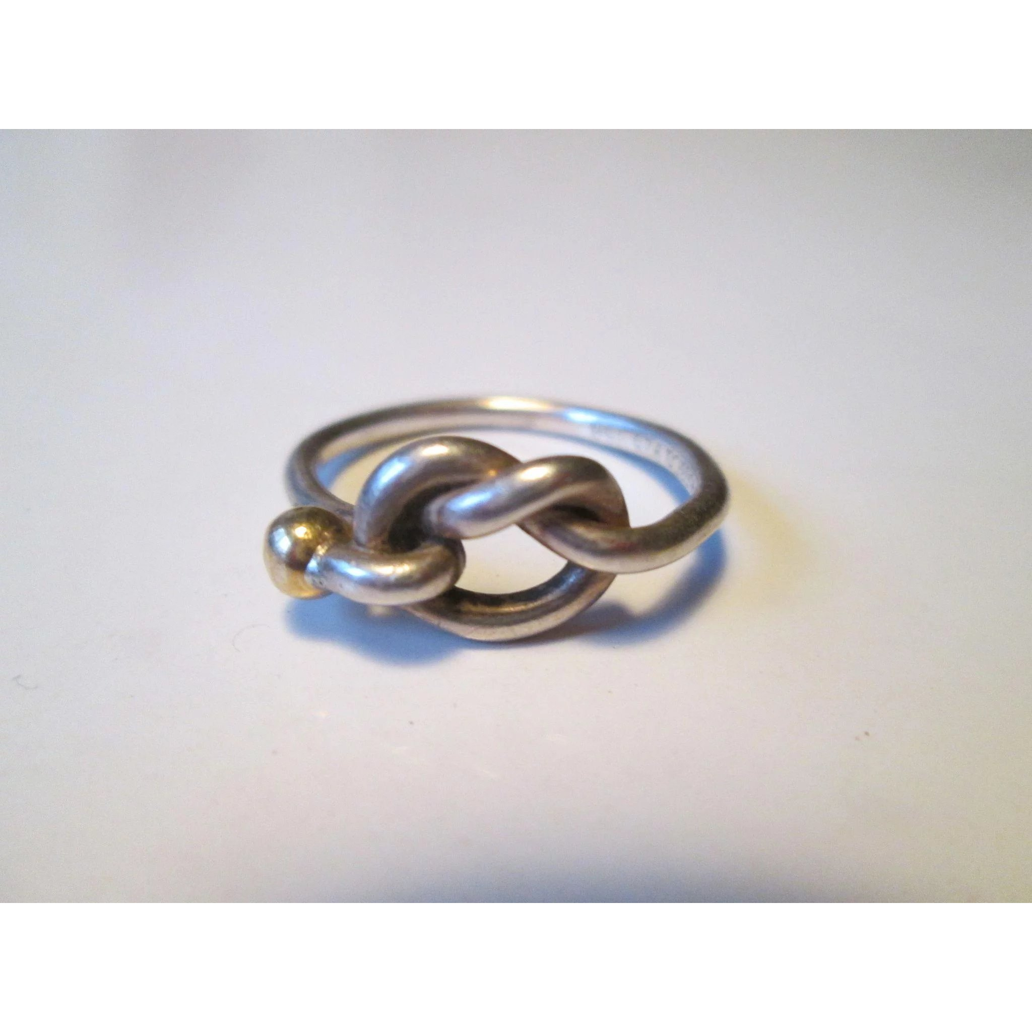 b0d7d83cafe10 Tiffany & Co. Love Knot Ring Sterling Silver & 18k Gold Size 8 - Classic!