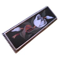 Italian Pietra Dura Silver Set Brooch with Tulips - so beautiful!