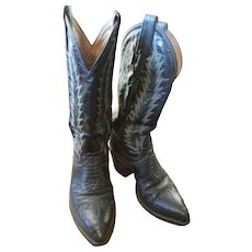Tony Lamas Cowboy Boots - Size 5c with Lizard Skin and Great Stitching Details