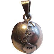 Sterling Globe Charm - Nice Detail - Rings Too!