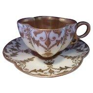 Miniature Jeweled COALPORT Quatrefoil Porcelain Cup & Saucer  Antique Circa 1885