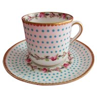 T. Goode & Co. (Ford's China)  Porcelain Coffee Can and Saucer -  Jeweled - Gilded - Hand Painted Demitasse - Stunning!