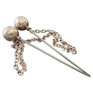 Victorian Cloak or Cape Pins / Ball Stick Pins with Connecting Chain /  Gold Filled