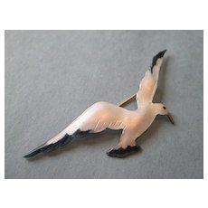 """Extra Large Seagull Enamel on Silver - 3 1/4"""" Long"""