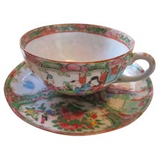 Rose Medallion Porcelain Cup and Saucer  Chinese