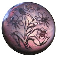 "Antique Engraved Abalone /Mother of Pearl  Button - 1 1/16"" Across"