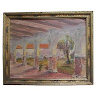 California Painting of the San Juan Capistrano Mission - Signed Bradford