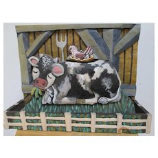 Mary Michael Shelley Folk Art  Hand Painted Carving - Cow and Chicken in the Barn!