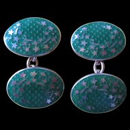Fine Cufflinks by Garrard & Co. Ltd - Green Enamel and Sterling Cufflinks with Shooting Stars Motif