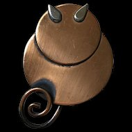 Modernist Copper Cat Pin - Mid Century Fun