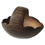 Carved Coconut Shell Basket - Jamaican