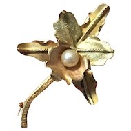 18K Gold and Pearl Orchid Pin - A Love Symbol.