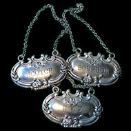 Set of 3 Liquor Labels - American Sterling Silver - Mid Century